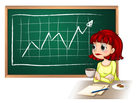 Illustration of a woman taking a break in front of the blackboard on a white background Vector