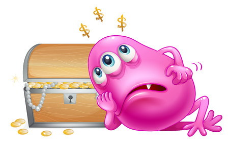 beanie: Illustration of a pink beanie monster beside the wooden treasure box on a white background