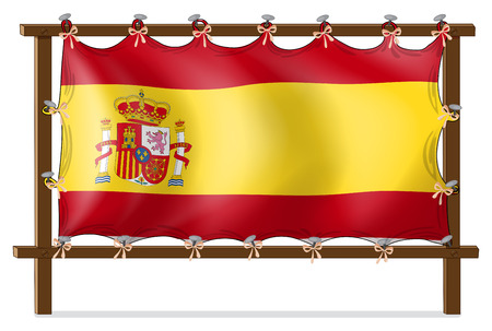 spaniards: Illustration of the flag of Spain attached to the wooden frame on a white background