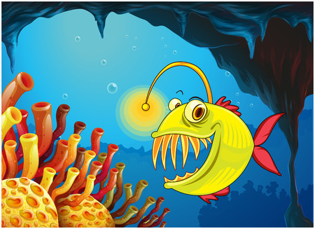 Illustration of a cave with a piranha Vector