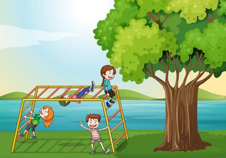 Illustration of the kids climbing near the tree