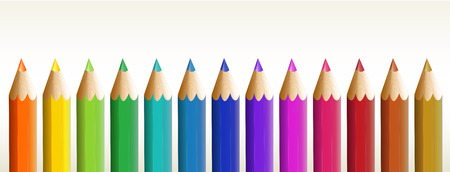Illustration of the thirteen colorful pencils on a white background Vector