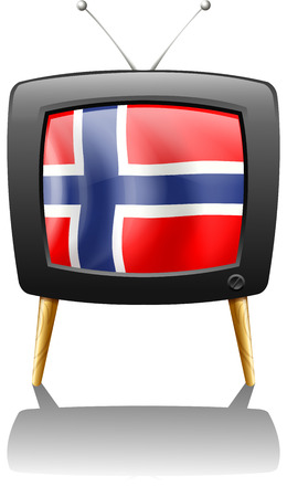 Illustration of the flag of Norway inside the TV on a white background Vector