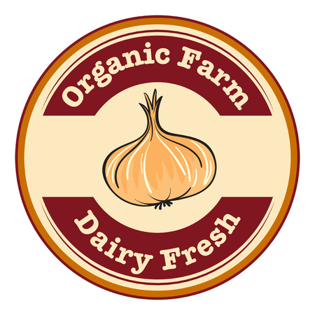 rootcrops: Illustration of an organic farm and dairy fresh label on a white background