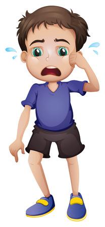niño llorando: Ilustración de un muchacho joven llorando sobre un fondo blanco Vectores
