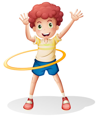 hula hoop: Illustration of a young boy playing with the hulahoop on a white background
