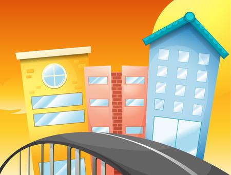 Illustration of a bridge near the tall buildings Illustration
