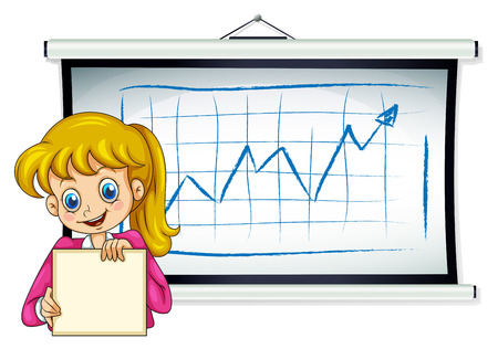 reporting: Illustration of a happy businesswoman reporting their sales on a white background