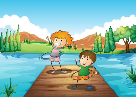 hulahoop: Illustration of the two kids playing hoop at the river Illustration