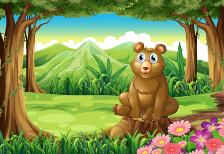 Illustration of a big brown bear above the stump Vector