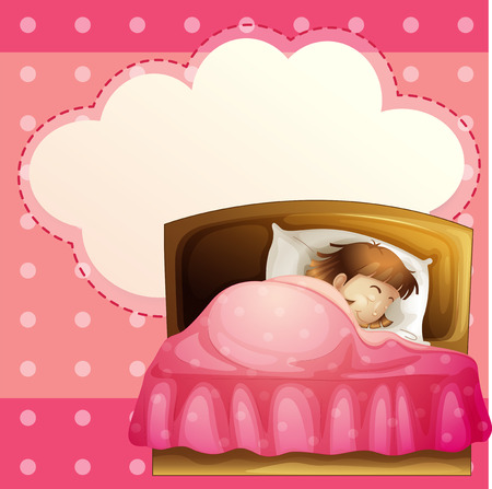 sleeping room: Illustration of a girl sleeping in her bedroom soundly with an empty callout Illustration
