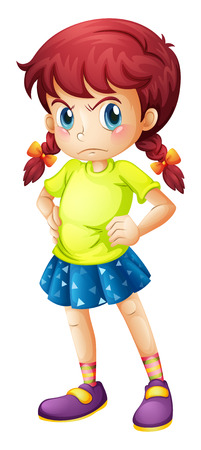 Illustration of an angry young girl on a white background Çizim