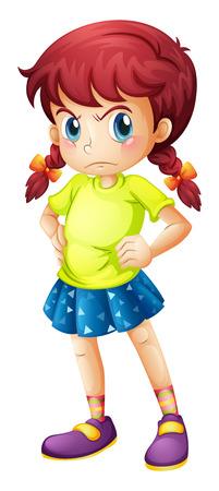 enojo: Ilustración de una chica joven enojada en un fondo blanco Vectores