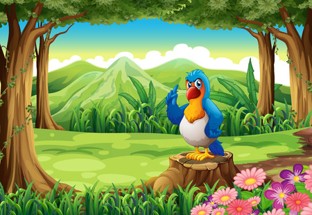 tree stump: Illustration of a colorful parrot above the stump of a tree