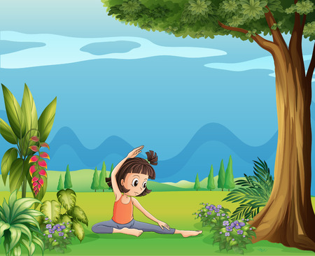 Illustration of a young girl doing yoga under the tree Vector