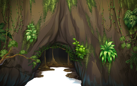 Illustration of a cave Vector