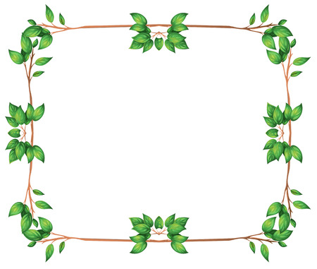 Illustration of an empty frame with green leafy borders on a white background Vector