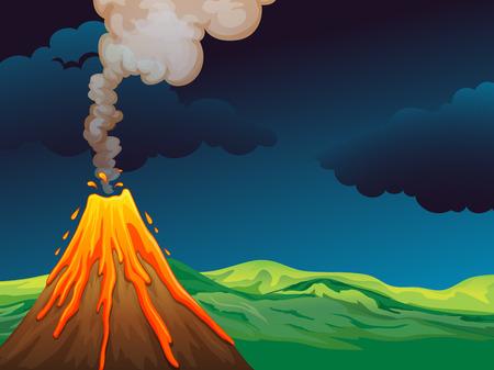 Ilustración de un volcán Vectores