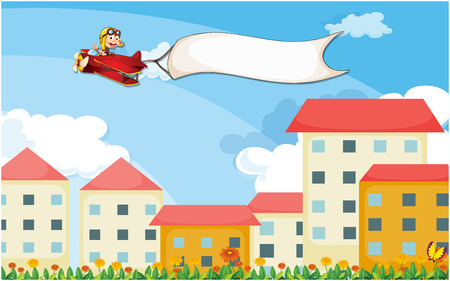 Illustration of a plane above the houses with an empty banner Vector