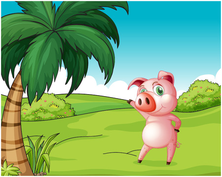 Illustration of a pig near the coconut tree on a white background Illustration