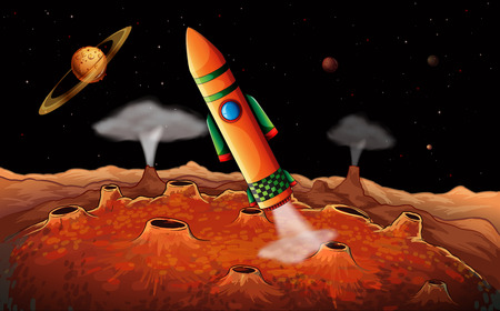 outerspace: Illustration of an orange rocket in the outerspace