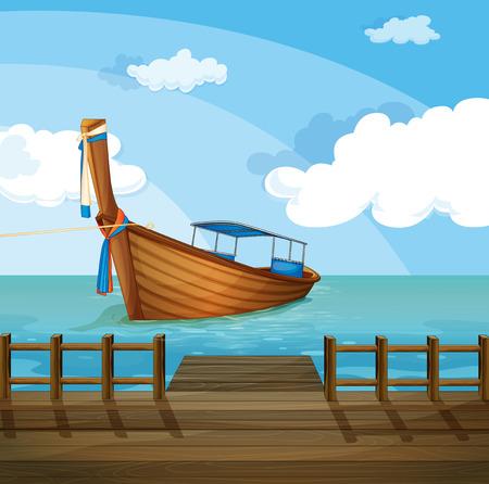 ocean floor: Illustration of a boat near the seaport