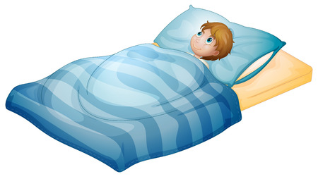 lying in bed: Illustration of a boy lying in his bed on a white background