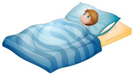 lying on bed: Ilustraci�n de un ni�o acostado en su cama sobre un fondo blanco