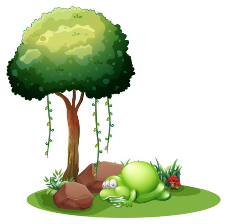 salivating: Illustration of a monster sleeping under the tree on a white background