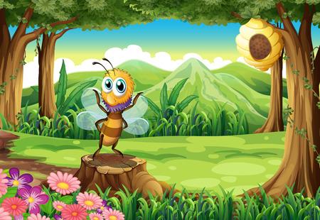 切り株と蜂の巣を持つツリー上の蜂のイラスト