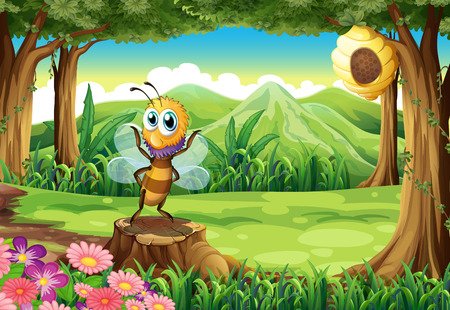 Illustration of a bee above the stump and a tree with a beehive