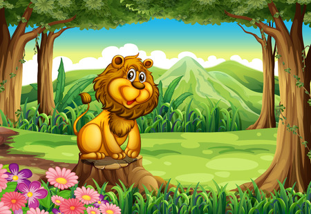 Illustration of a lion above the stump of a tree