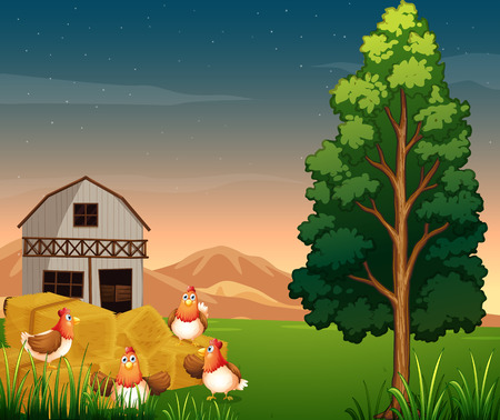 Illustration of a group of chickens near the hays at the farm Vector