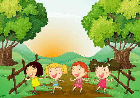 playmates: Illustration of the four young ladies playing outdoor