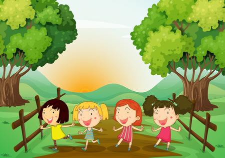 playmates: Ilustraci�n de las cuatro mujeres j�venes que juegan al aire libre