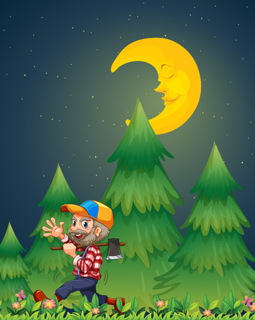 Illustration of a lumberjack walking happily while carrying an axe Vector