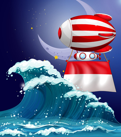 wavelengths: Illustration of a floating balloon with the flag of Monaco
