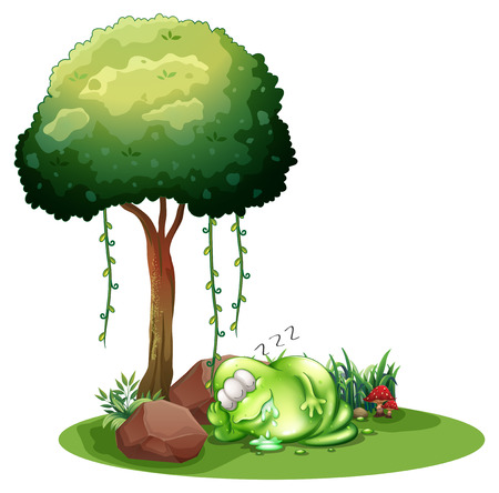 Illustration of a fat green monster sleeping under the tree on a white background Illustration
