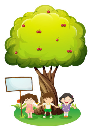 Illustration of the three kids standing under the tree with an empty signboard on a white background Vector