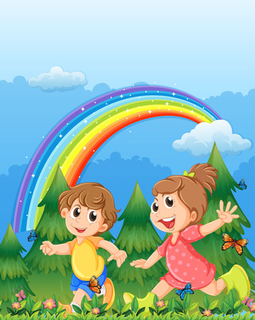 Illustration of the kids playing near the garden with a rainbow in the sky Vector