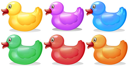 Illustration of the six colorful rubber ducks on a white background Vector