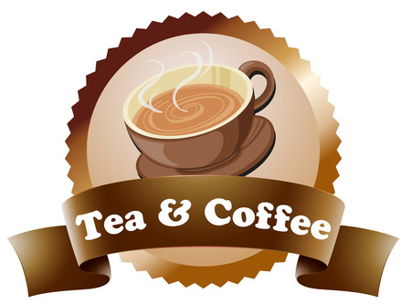 labelling: Illustration of a coffee and tea label on a white background Illustration
