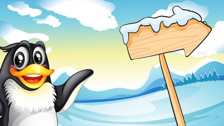 Illustration of a penguin beside the wooden arrow signboard Illustration