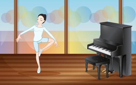 예행 연습: 피아노와 함께 스튜디오 내부의 발레 댄서의 그림 일러스트