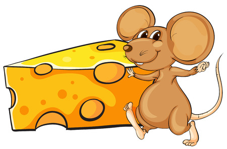 Illustration of a brown mouse beside the big slice of cheese on a white background
