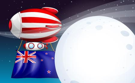 new zealand flag: Illustrazione di un pallone galleggiante con sirena bandiera Nuova Zelanda Vettoriali