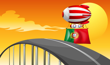 Illustration of the flag of Portugal carried by the floating balloon Vector