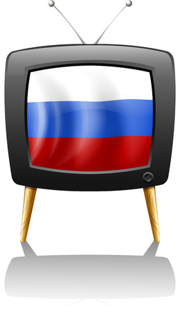 Illustration of the flag of Russia inside a television isolated on white  Vector