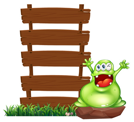Illustration of a happy monster above the rock beside the empty wooden signboards isolated on white  Vector