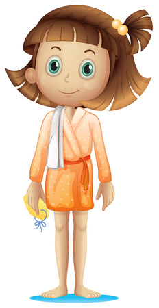 Illustration of a young woman wearing a bathrobe isolated on white  Vector
